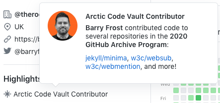 GitHub badge showing I contributed to projects in the Archive Programme